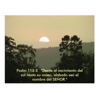Psalm 113:3  SPANISH bible text sunset Postcard