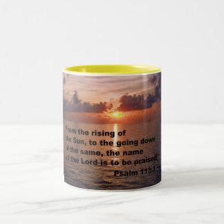 Psalm 113:3 Two-Tone coffee mug