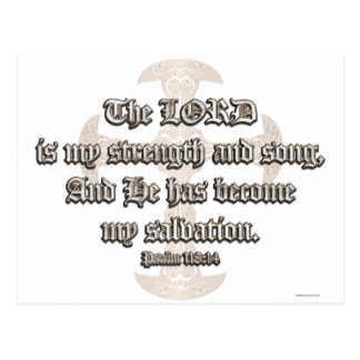 Psalm 118:14 - Etched Copper Cross Postcard