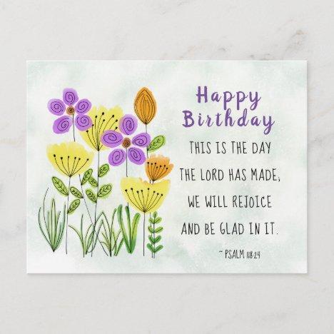 Psalm 118:24 Pretty Watercolor Flowers Birthday Postcard