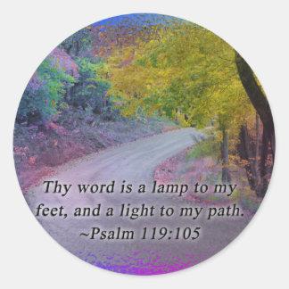 PSALM 119:105 THY WORD - LIGHT TO MY PATH - CLASSIC ROUND STICKER