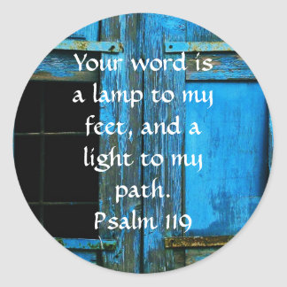Psalm 119 Your word is a lamp to my feet Round Sticker