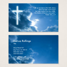 Psalm 121; 1-2   Blue Christian Business Card at Zazzle