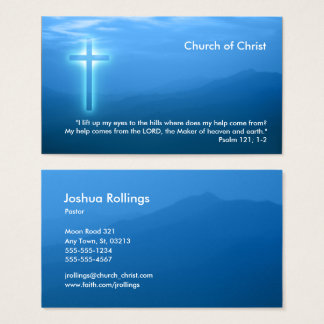 Psalm 121; 1-2 | Glowing Christian Cross Business Card