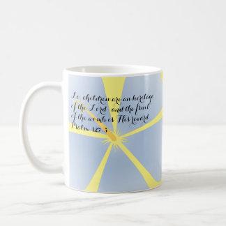 Psalm 127:3 Light Blue Hibiscus Mug Bible Verse