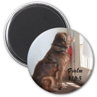 Psalm 130:5 Dog Window Magnet