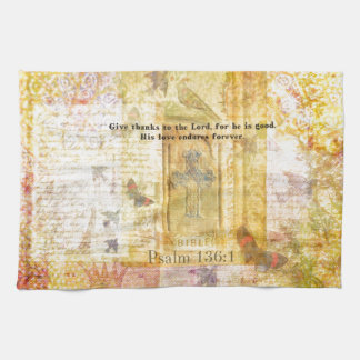 Psalm 136:1 Give thanks to the Lord Kitchen Towel