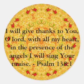 Psalm 138:1 round stickers