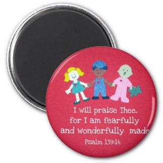 Psalm 139:14 2 inch round magnet