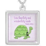 psalm 139:14 kids christian turtle square pendant necklace
