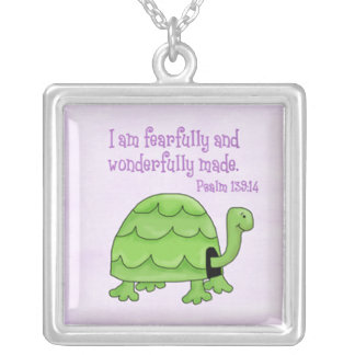 psalm 139:14 kids christian turtle necklaces
