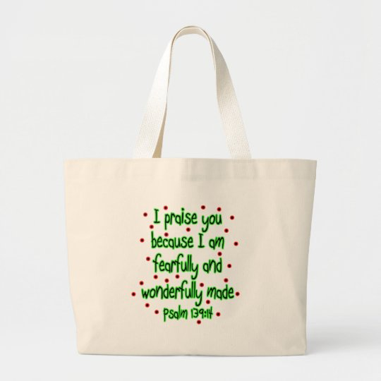 Psalm 139:14 large tote bag