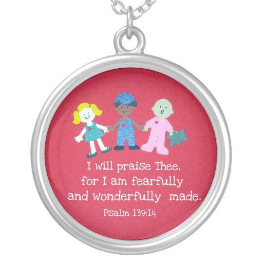 Psalm 139:14 silver plated necklace