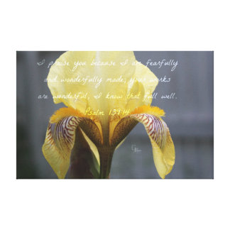 Psalm 139:14 Yellow Zebra Iris Canvas Print