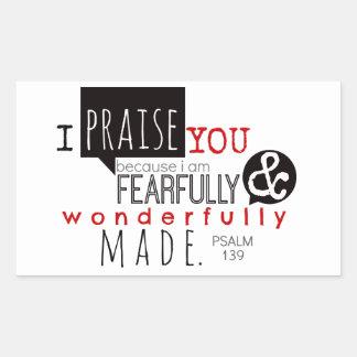 Psalm 139 - I Praise You Rectangular Sticker