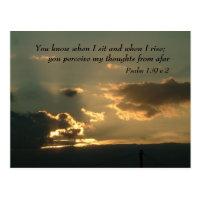 Psalm 139 v 2   Inspirational Words Postcard