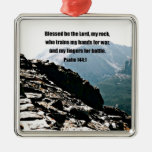 Psalm 144:1  Blessed  be the Lord... Square Metal Christmas Ornament