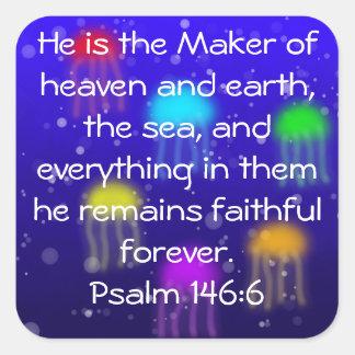 Psalm 146:6 Rainbow Jellyfish Sticker