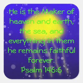 Psalm 146:6 Yellow Jellyfish Sticker