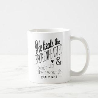 Psalm 147:3 He Heals the Brokenhearted Coffee Mug