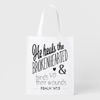 Psalm 147:3 He Heals the Brokenhearted Reusable Grocery Bag