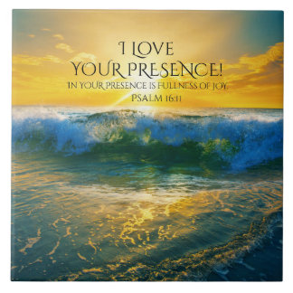 Psalm 16:11, Bible Verse, Beautiful Ocean Sunset Tile