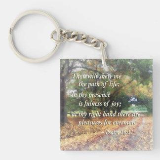 Psalm 16:11 Thou wilt shew me the path Square Acrylic Keychains