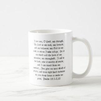 Psalm 18:1-3,35 on a mug