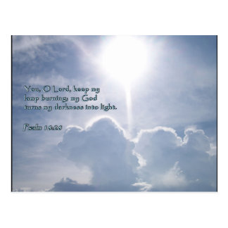 Psalm 18:28 Shining Clouds Postcard
