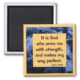 Psalm 18:32 2 inch square magnet