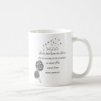 Psalm 18 Bible Verse Call Upon the Lord Dandelion Coffee Mug