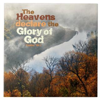 Psalm 19:1 Bible Verse Glory of God Ceramic Tile