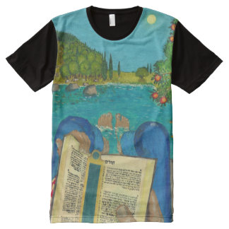 Psalm 1 in Hebrew Bible Jewish Christian Paintings All-Over-Print Shirt