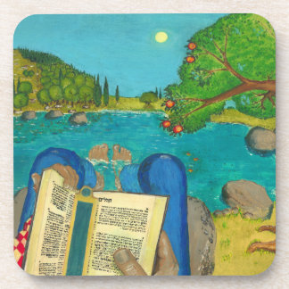 Psalm 1 in Hebrew Bible Jewish Christian Paintings Drink Coaster