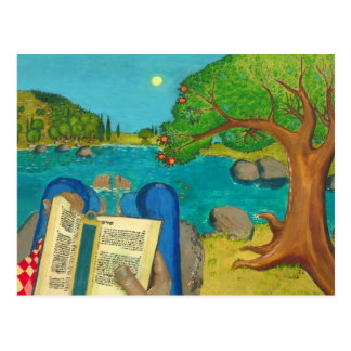 Psalm 1 in Hebrew Bible Jewish Christian Paintings Postcard