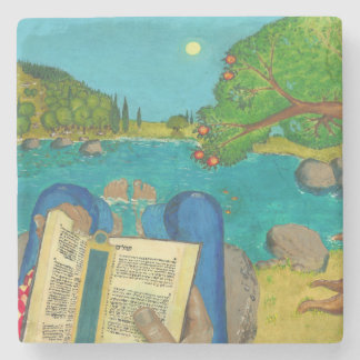 Psalm 1 in Hebrew Bible Jewish Christian Paintings Stone Coaster