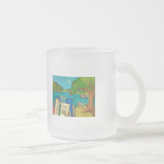 Psalm 1 - Man reads Psalm 1 in Hebrew Bible Frosted Glass Coffee Mug