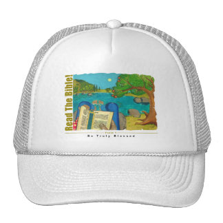 Psalm 1 - Man reads Psalm 1 in Hebrew Bible Hat