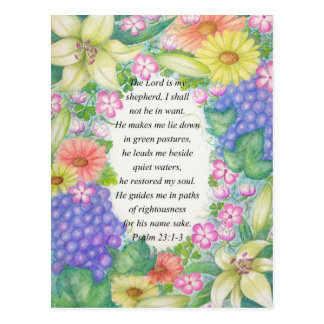 Psalm 23:1-3 and flowers postcard