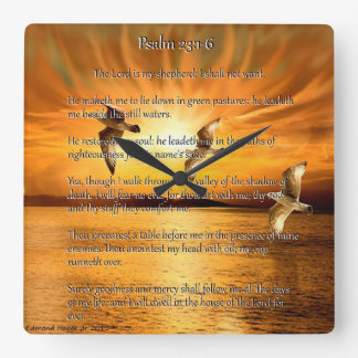 Psalm 23:1-6 The Lord Is My Shepard Square Wall Clock