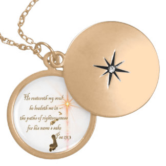 Psalm 23.3 The Lord is my Shepard Locket Necklace