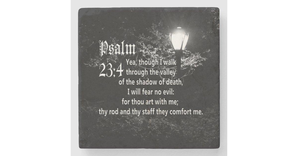 Psalm 23 4 Bible Verse Custom Christian Gift Stone Coaster
