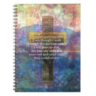 Psalm 23:4 - Even though I walk through... Spiral Notebooks
