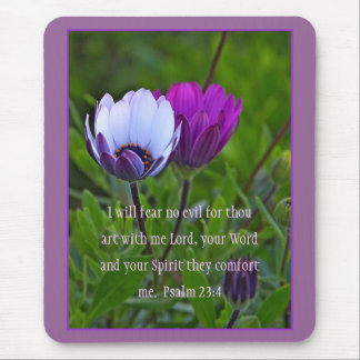 Psalm 23:4 Purple Flowers Mousepad