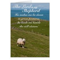 Psalm 23 Bible Verse, Irish Sheep Field Card