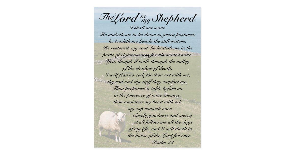 Psalm 23 Bible Verse, Irish Sheep Field Postcard | Zazzle.com