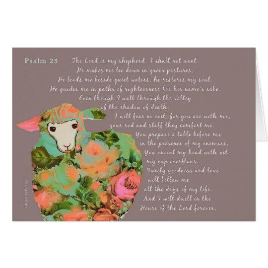 Psalm 23, bright sheep on chocolat background card