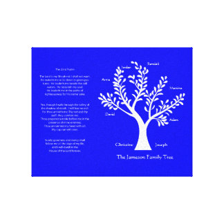 Psalm 23 Family Tree in Brilliant Blue Gallery Wrap Canvas