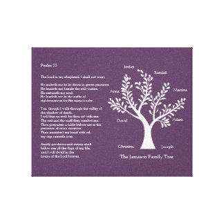 Psalm 23 Family Tree in Deep Purple Canvas Print