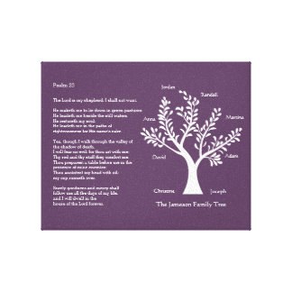 Psalm 23 Family Tree in Deep Purple Canvas Prints